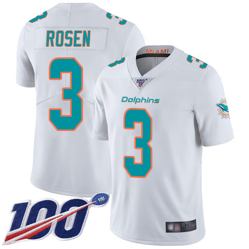 Cheap Nike Miami Dolphins 3 Josh Rosen White Men Stitched NFL 100th Season Vapor Limited Jersey